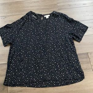 H&M black top with white star print